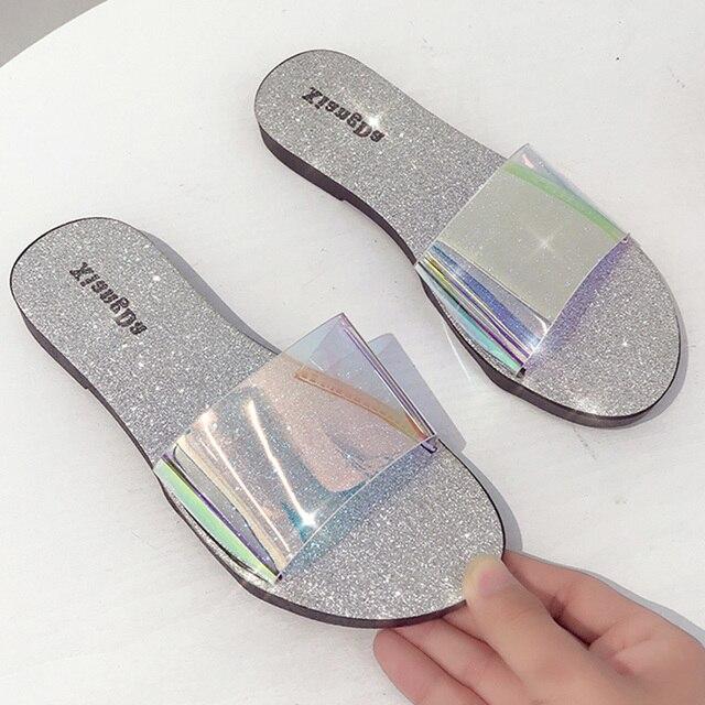 Zapatos De Brillantes 2019 Mujer Zapatillas Transparentes Verano KJTF13lc