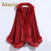 Bohoartist Casual Cape Overcoat Women Winter 2019 Batwing Sleeve Faux Fox Fur Collar Elegant Fashion Cardigan Coat Ponchos