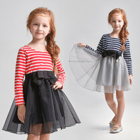Платье-пачка для маленьких девочек полосатое платье серого красного цвета хлопковая одежда с сеткой и длинным рукавами на возраст 4 5 6 7 8 9 10 ...