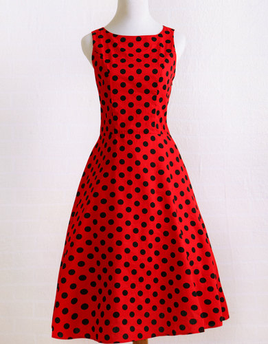 05bffa0853359 Candow Look Women Audrey Hepburn Summer Plus Size Vintage Rockabilly Red  Black Polka Dot 50s 60s Party Swing Circle Girl Dress