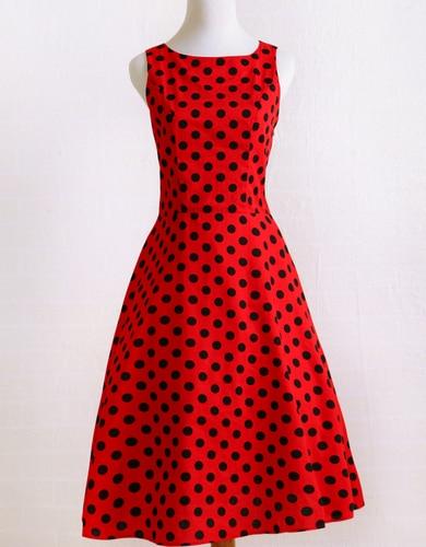 2dc2f413f86 Candow Look Women Audrey Hepburn Summer Plus Size Vintage Rockabilly Red  Black Polka Dot 50s 60s Party Swing Circle Girl Dress