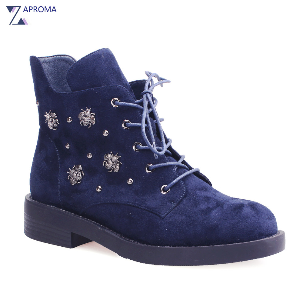 2018 Suede Women Ankle Low Heel Boots Short Plush Rivet Autumn Winter Lace Up High Top Shoes Navy Blue Metal Punk Style 2017 fall winter blue denim short sandal boots front back lace up open toe ankle boots brown black high heel high top sandals