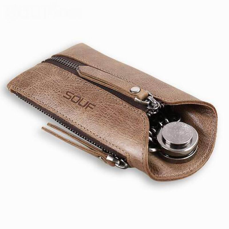 100% Genuine Leather Car Key Wallets Men Key Holder Housekeeper Keys Organizer Women Keychain Covers Zipper Key Case Bag 9017 vintage genuine leather key wallet men keychain covers zipper key case bag men key holder housekeeper keys organizer