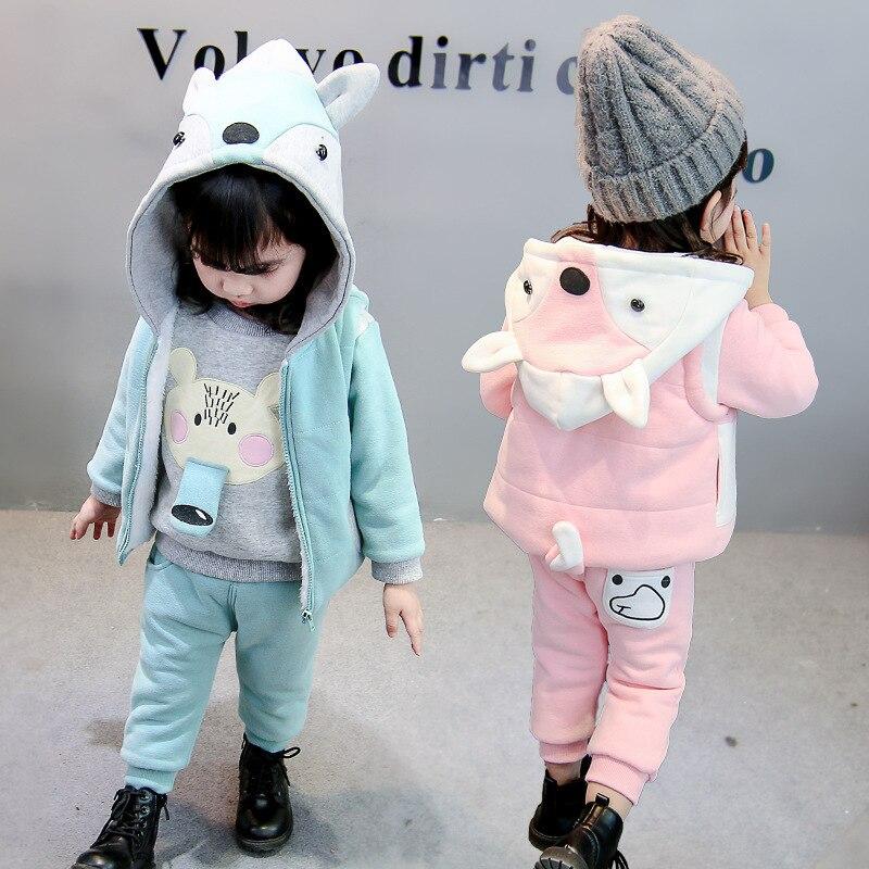 2018 hiver épais garder au chaud enfants bébé vêtements ensembles mode coton dinosaure fille Plus épais velours trois pièces enfants vêtements