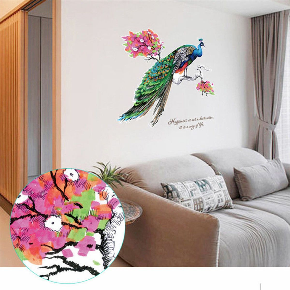 Mayitr Fancy Peacock Wall Sticker Vinyl Removable Living Room Animal Decal  Home Mural Art Decoration