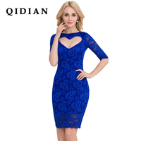 QI DIAN Women Summer Vestidos High End Ladies Half Sleeve O Neck Stitching Lace Party Dresses