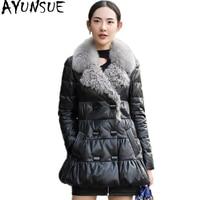 AYUNSUE 2018 натуральная кожа куртка женский, черный из натуральной овчины пальто с натуральным Лисий меховой воротник теплые зимние пуховики