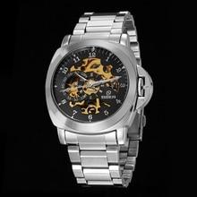 GOER марка мужская мода автоматические часы механические наручные часы Мужчины Стали водонепроницаемые Световой Скелет Цифровой