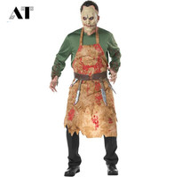 Adult Bloody Butcher Costume Mens Halloween Cosplay Male Blood Suit Zombie Dressing