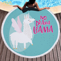 ROMORUS llama Unicorn Round Beach Towel Microfiber Best Quality Women Swimming Sandy Towels Shawl Children Kids Soft Play Mat