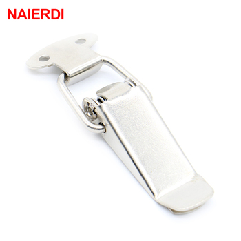 4PC NAIERDI J105 Hardware Cabinet Boxes Spring Loaded Latch Catch Toggle 27*63 Iron Hasp For Sliding Door Simple Window Cabinet