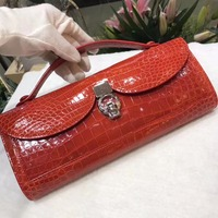 100% genuine crocodile leather skin lady long size wallets and purse, red shinny brightness alligator skin evening clutch women