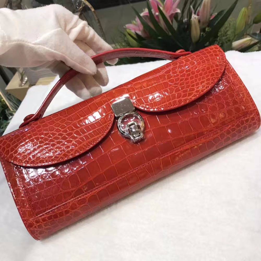 100% genuine crocodile leather skin lady long size wallets and purse, red shinny brightness alligator skin evening clutch women 100% genuine crocodile leather skin women wallets and purse clutch brigher shinny alligator skin wallets women clutch long size