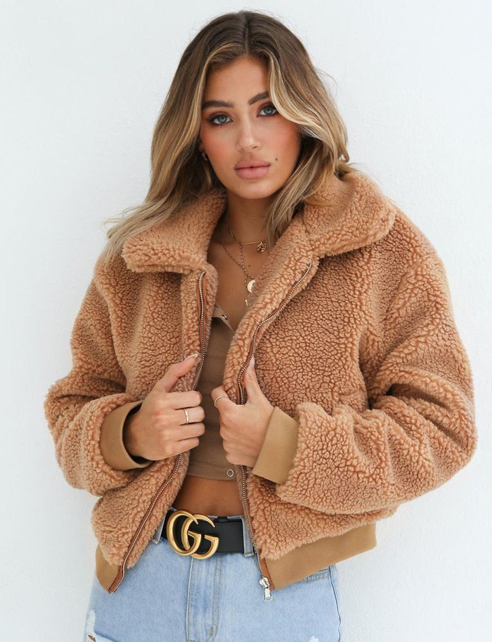 2019 Winter arrival Women Cotton Fluffy Long Sleeve Jacket Ladies Warm Outerwear Cardigan Coat