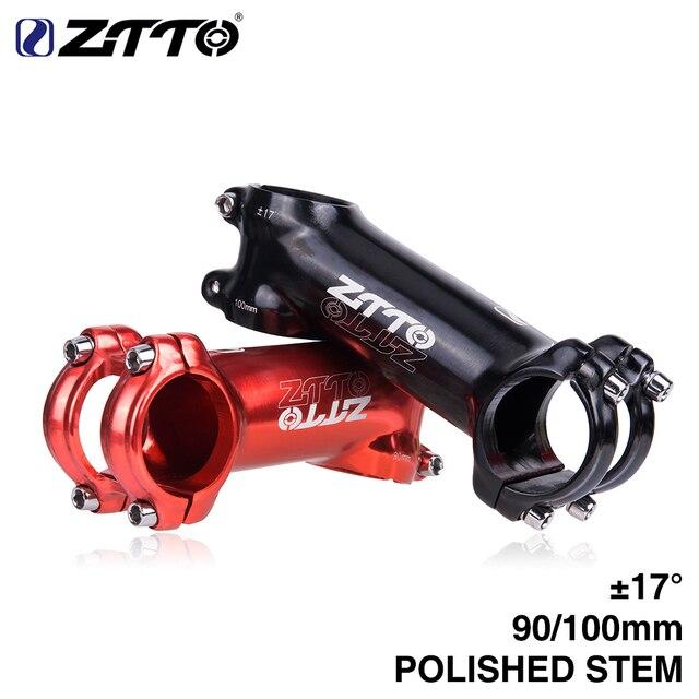 ZTTO Polido Haste 90mm 100mm 17 graus de Alta-Resistência Leve 31.8mm para XC Trail MTB Montanha bicicleta de estrada brilhante Bicicleta parte