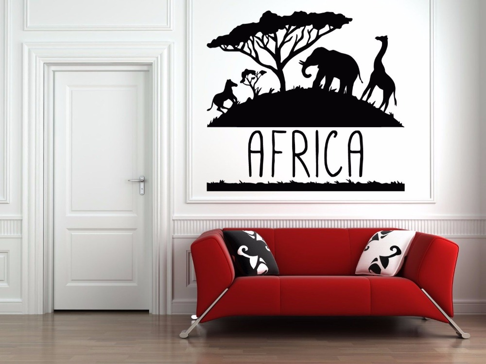 Africa Animal Vinyl Wall Decal Africa Savanna Animals Elephant - Wall decals animalsafrican savannah wall sticker decoration great trees with
