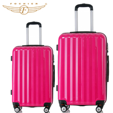 Unisex rose red ABS+PC Trolley Rolling Luggage Suitcase Universal Spinner Wheels 24″ 28″ Inches 2 Piece color 2016 new Fochier