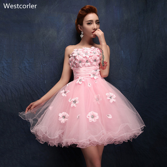 Strapless Hand Made Flower short Ball Gown Embroidery Special ...