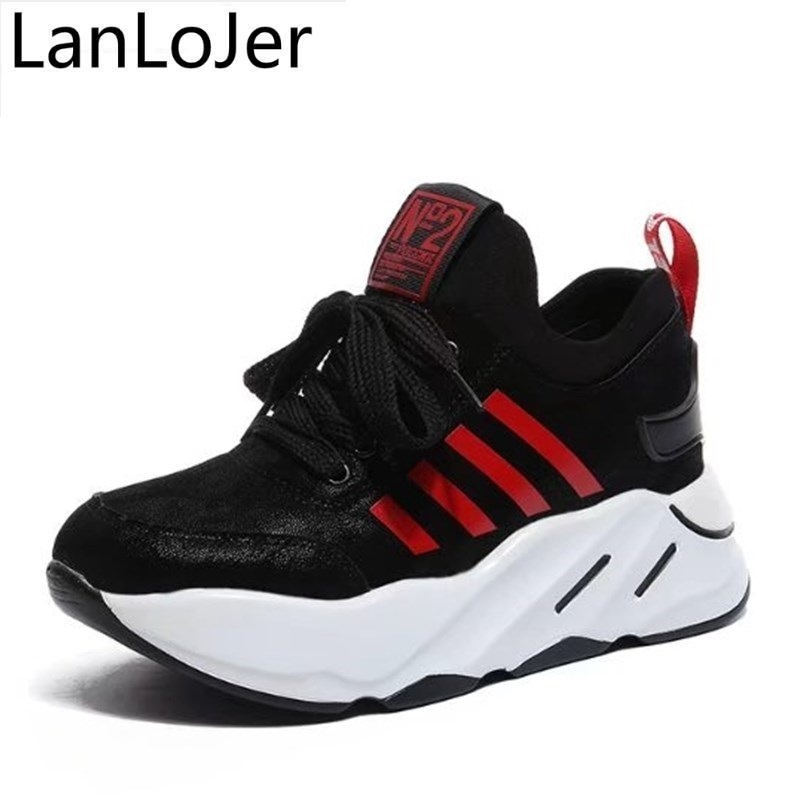 LanLoJer Size 35-40 Woman 7cm Hidden Heels Fashion Women Canvas Wedge Casual Shoes Fitness Shoes 2018 Ladies Shoes zapatos mujer