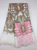 PROMOTION 5yards Lot 2017 High Quality Nigerian French Lace African Lace Fabric For Party Dress ADF312