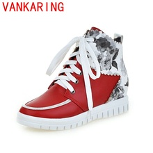 VANKARING shoes 2017 women ankle boots winter british college style fashion round toe leisure lace-up short plush riding boots