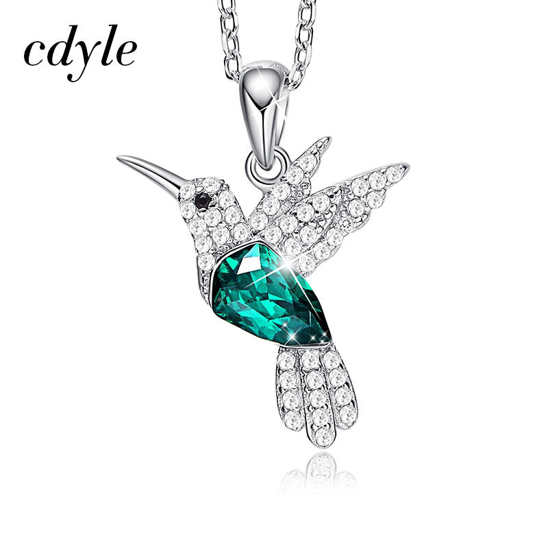 Cdyle Hummingbird Jewellery 925 Sterling Silver Link Chain Necklace Embellished with crystal Women Pendant-in Pendant Necklaces from Jewelry & Accessories