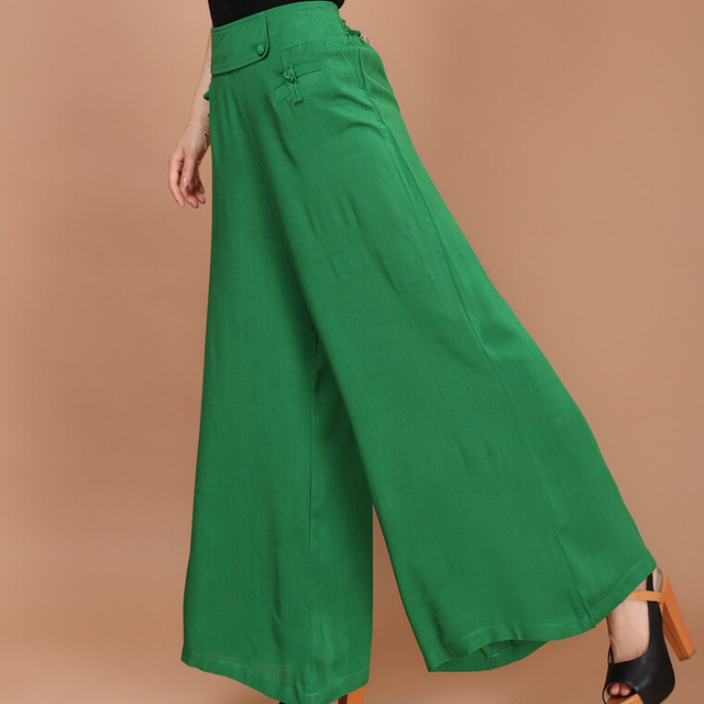 cc7424e9797dc 2015 New Casual Loose Women Linen Wide Leg Pants Ladies Baggy Flare Trousers  Elastic Waist Flax Culottes Plus Size Summer Style
