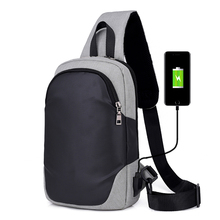 купить Man chest bag USB charging business casual small bags Men Messenger Bag Casual Sling Shoulder Bags по цене 1184.09 рублей