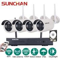 SUNCHAN 4CH Array HD Home WiFi Wireless Security Camera System DVR Kit 1080P CCTV WIFI Outdoor