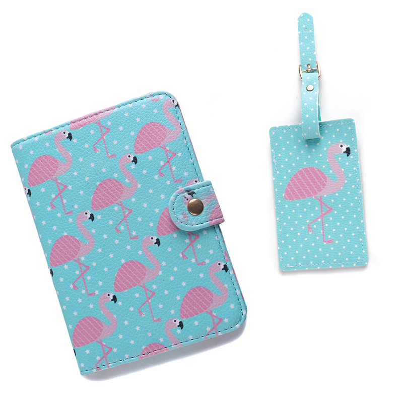 цена 2PCS/Set PU Holder Women Travel Passport Cartoon Passport Cover ID Credit Card Flamingo Luggage Tag Passport Holder DropShipping