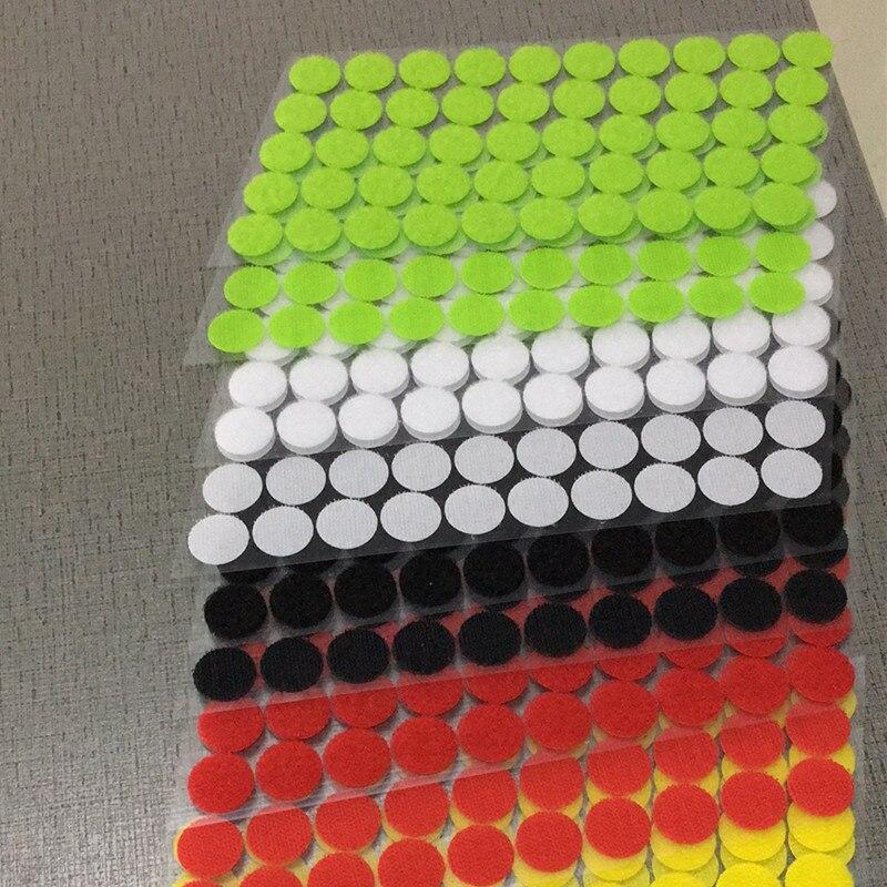 15mm 100 Pairs Meer Kleur Magnetische Nylon Coin Sticker Dubbele Zijdig Gaten Haken Loops Disc Ronde Pads Dot Fastener Kleermakers Diy Consumenten Eerst