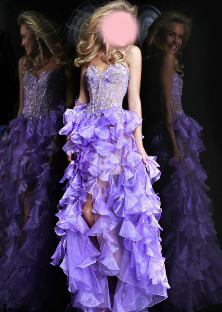 2817da3908f Lilac High Low Ruffles Tiered With Appliques Corset Bodice Prom Dresses  Sweetheeart Off Shoulder Asymmetrical Fashion Party Gown