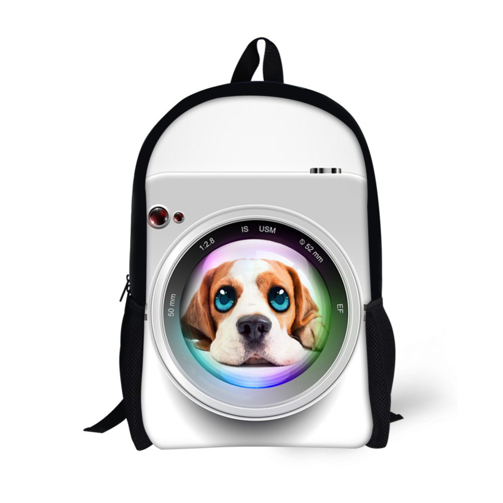 Teenagers Children School Bags Camera Lens Animal Beagle Dogs 3D Printing School Backpack Boys and Girls Book Bags