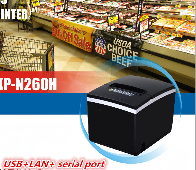 NEW 80mm Receipt POS Printer Automatic Cutter Bill Thermal Printer USB Ethernet Serial Three Ports Are Integrated In One Printer