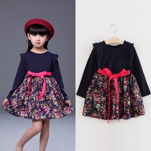 e305e0820da8 spring 2018 floral girls cute dresses little girls long sleeve dress  children girl clothing size for 2 3 4 5 6 7 8 year kids