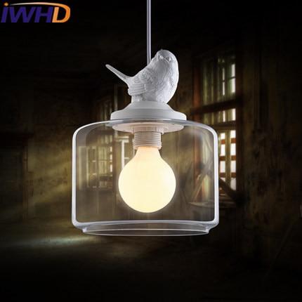IWHD Modern Led Hanging Lights Creative bird Lamp White HangLamp Kitchen Lighting Fixtures Fashion Resin Pendant Lights Lampara