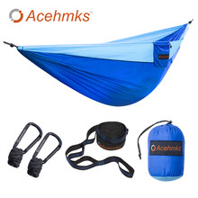 Acehmks Hammock Portable Folding Ultralight Parachute Nylon Camping Hammock Garden Swing Multi Color With 2 Tree Straps Double(China)