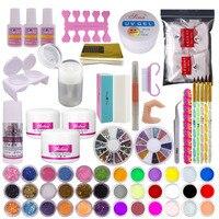 24 in 1 Nail Art Set Acrylic Powder Liquid Glitter Cuticle Oil Buffer Block Brush Acrylic Nail Set