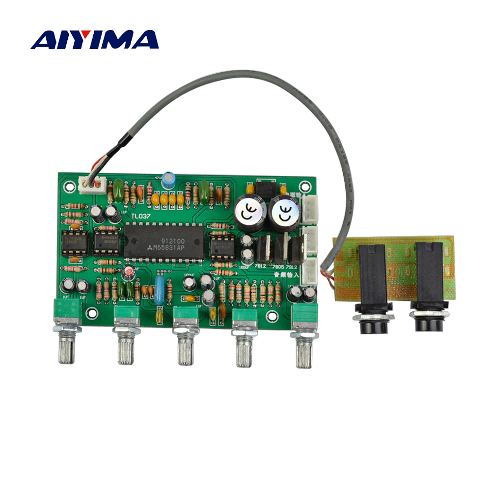 Aiyima 1PC Preamplifier NE5532 Karaoke Microphone Amplifier Board Preamp Bass Tweeter Sound Tone Control Reverberation Board