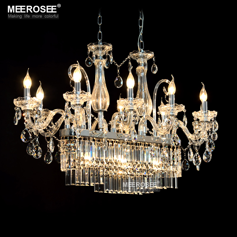Crystal Chandelier Lighting Gorgeous Rectangle Lights Fixture Glass Chandelier Lighting Lustres Hanging Dining Room Drop Lamp