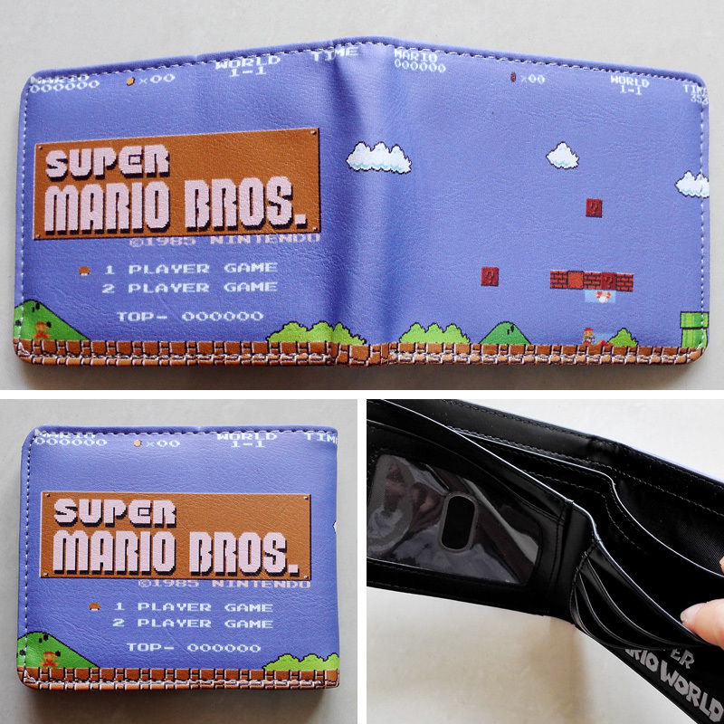 2018 Game Nintendo SUPER MARIO BROS. Logo wallets Purse Multi-Color 12cm Leather W138 2018 movie the terminator t850 skull logo wallets purse multi color 12 cm leather w211