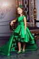 Изумрудно-Зеленый Девушки Pageant Платья Высокий Низкий Принцесса Цветок Девочки Платья Для Свадеб Прекрасные Дети 2017 Причастие Платья