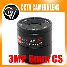 2 pcs 6mm Lente 3MP CS Monte CCTV HD lente Da Câmera para o Dia/noite CCD câmera De CCTV Segurança frete Grátis