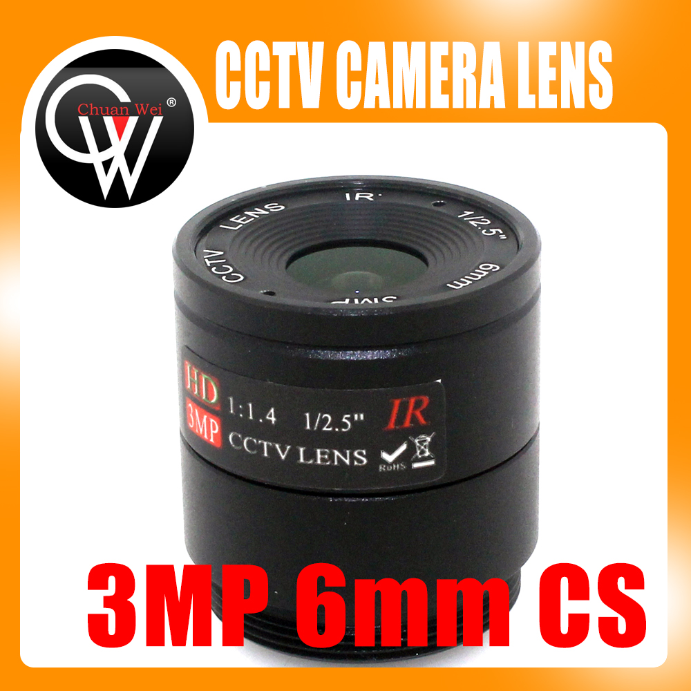2pcs 6mm Lente 3MP CS Mount HD Cámara de CCTV lente para Día / noche CCD Seguridad CCTV cámara Envío gratis