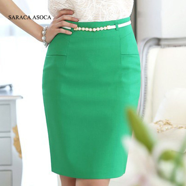 16359961143 Spring Summer Pencil Skirts Ladies Size XXL Knee-Length Solid Color Work Skirt  Women s Saia