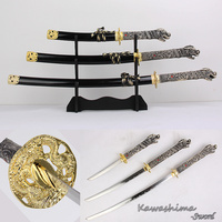 3 Piece Dragon Samurai Sword Set With Stand Real Carbon Steel Blade Gold Metal For Display