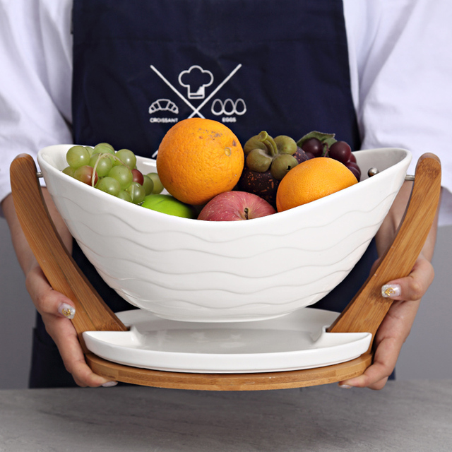 Ceramic Suspended Dinner Plate Decorative Porcelain Serving Bowl with Bamboo Rack Tableware Vessel Supplies for Fruit & Ceramic Suspended Dinner Plate Decorative Porcelain Serving Bowl ...