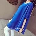 2016 Verão Tops Tees Mulheres Grávidas Chiffon Blusa Desgaste Solto Fino Vestido Amarelo Azul Camisa Plus-Size 4xxl Blusa feminino