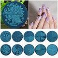 1 Unids Fashion Nail Art DIY Plantilla, Stamping Nail Art Imagen Placas De Acero 5.5 cm Plantilla Manicura (hehe001-hehe026)