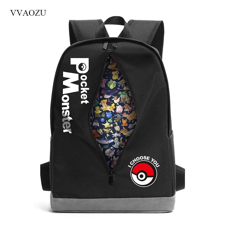 Pokemon sac à dos balle sac à dos de poche monstres je vous choisis fermeture éclair Ripper sac de voyage épaule étudiants adolescent cartable sac à livres